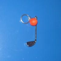 Golfütő, piros, labdával, kulcstartó