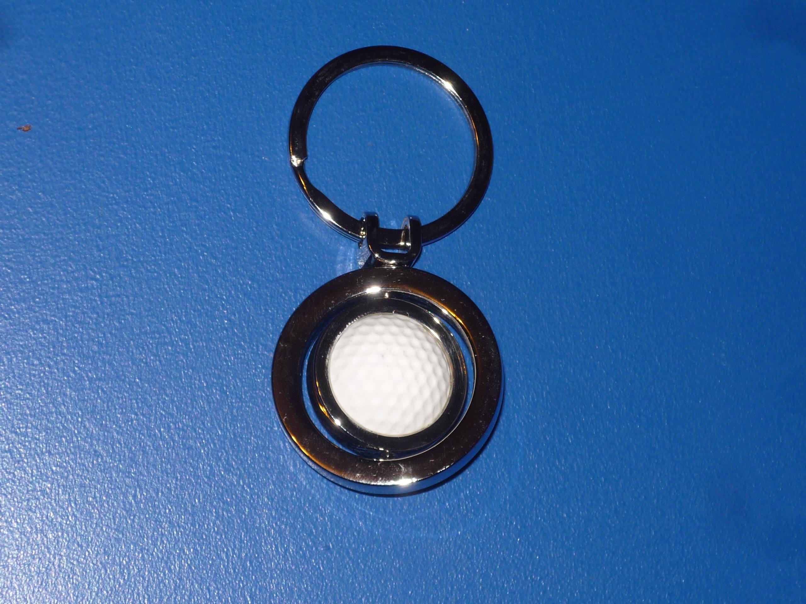 Golf, kulcstartó, fém, keretben, forgó, golflabda
