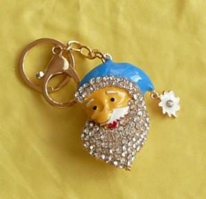 Télapó kék sapkában, kristállyal kulcstartó táskadísz