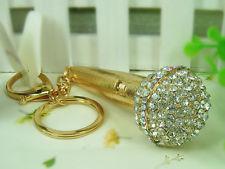 Arany kristály mikrofon kulcstartó táskadísz óriás