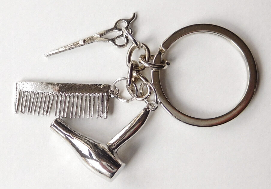 Fodrász olló hajszárító fésű kulcstartó króm színben