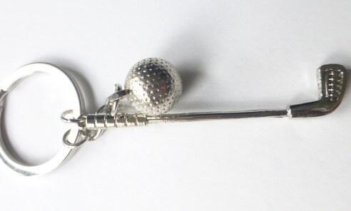 Golf ütő labda kulcstartó fém
