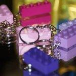 Lego kulcstartó - lila